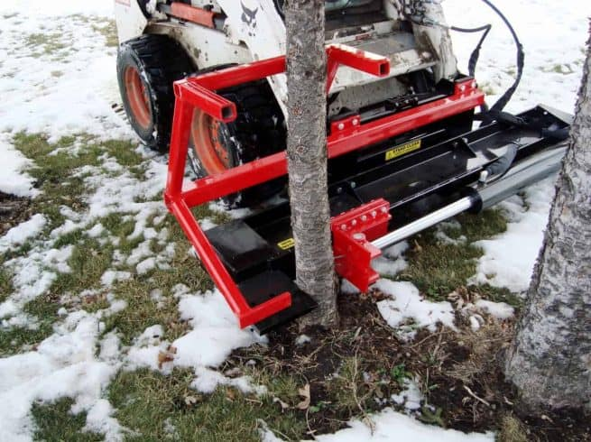 tree puller in snow