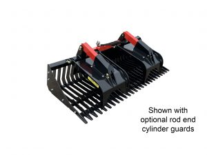 rock bucket grapple with rod end cylinder guards skid steer rock buckets