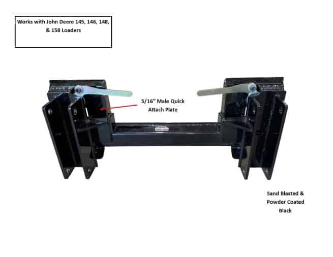 male quick tach to john deere 145-158 loaders specs